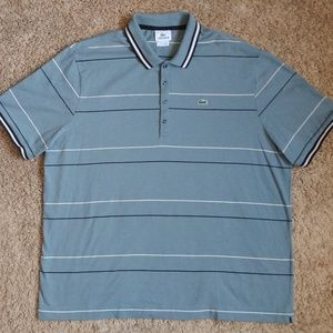 Blue/Gray Lacoste Striped Polo (Size 8)